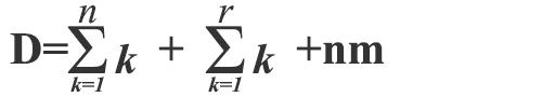 D=(Σ[k=1,n]k)+(Σ[k=1,r]k)+nm